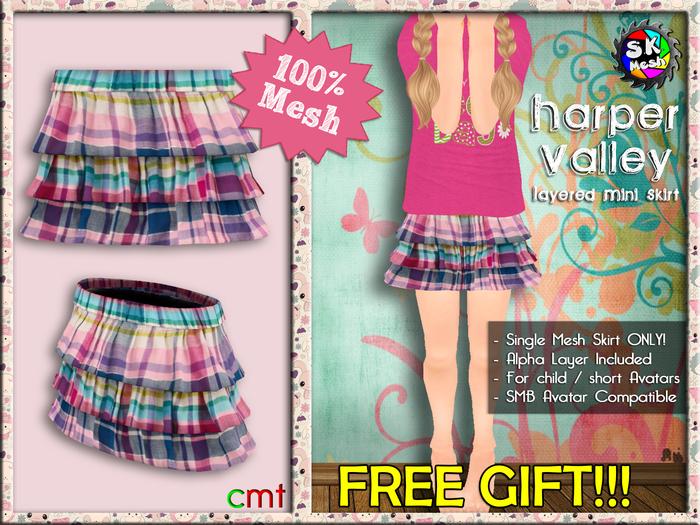 [SKM] FREE GIFT Harper Valley Layered Mini Skirt MESH