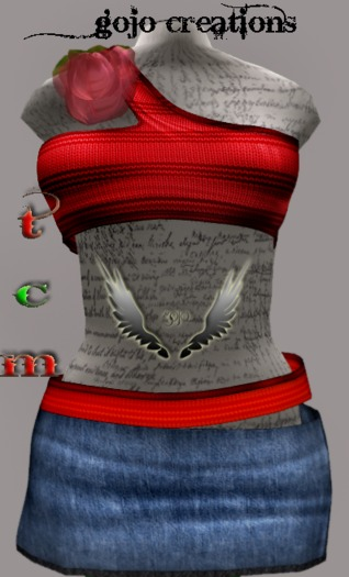 gojo creations MESH skirt and blouse red