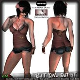 Night Owl - Full Outfit - (Tank, Shorts, Leggings, Hair Bow, Gloves) Complete outfit from Croire and Razorblade Jacket