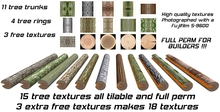 15 full perm tree trunk and tree rings textures