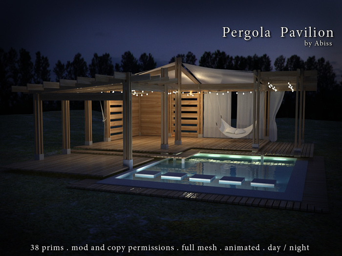 Pergola Pavillion by Abiss  - mesh large pergola with reflection pool and float bed