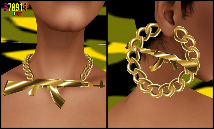 [7891.] AK Necklace & Earrings - Gold (W\Rseize)