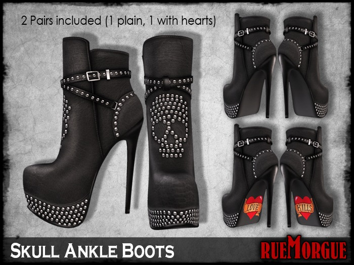 =RueMorgue= Mesh Skull Ankle Boots