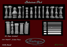 Balustrade Pack - Low Impact! .5 prim each piece - Full permission - AO Maps Included! EZ Texturing!