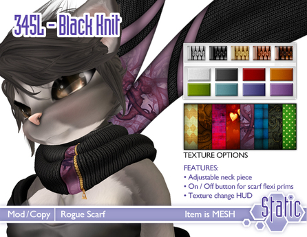 ::Static:: Rogue Scarf - Black Knit