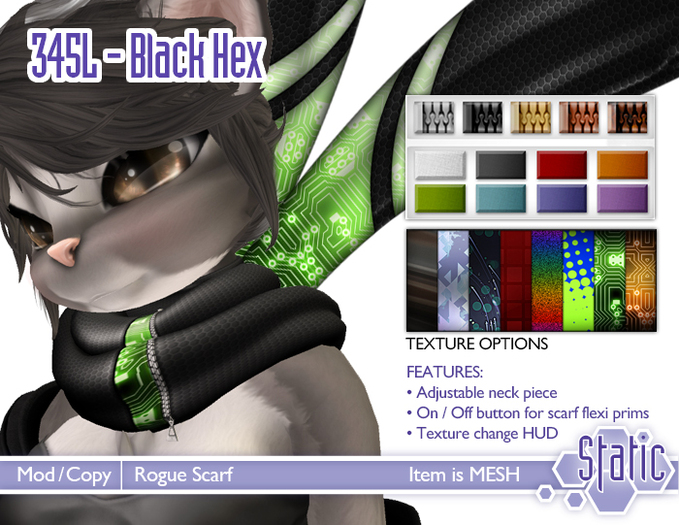 ::Static:: Rogue Scarf - Black Hex