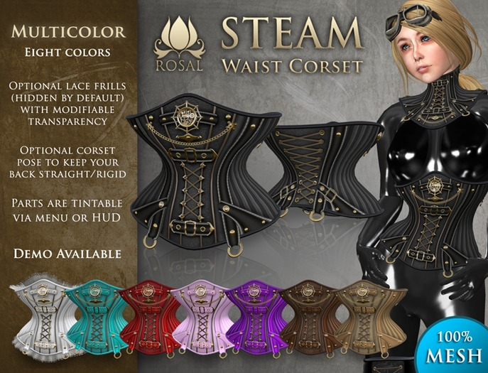 [ROSAL] STEAM Waist Corset - Multicolor (Mesh)