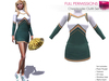 RIGGED MESH Women's Turtleneck Long Sleeve Green Yellow White Cheerleader Top Skirt Uniform Costume
