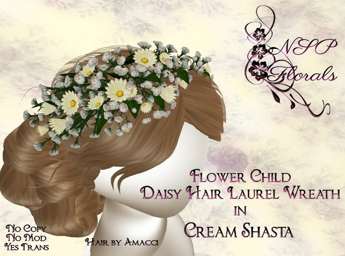 NSP Flower Child Hair Wreath Cream Shasta boxed