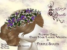 NSP Flower Child Hair Wreath Purple Shasta boxed