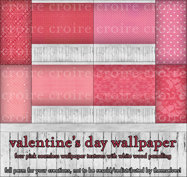 [croire textures] 4 Seamless Valentine's Day Wallpaper Textures (heart love romantic patterns pink girly cute kawaii)
