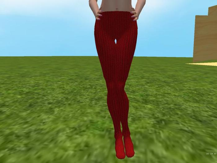 Red knit tights