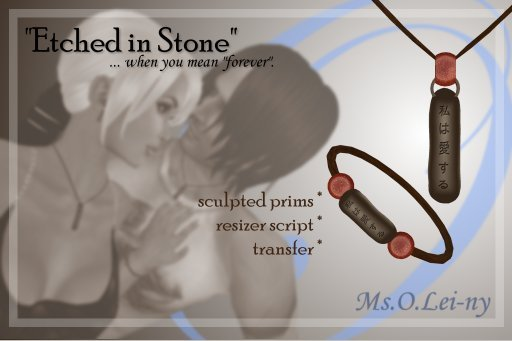 """Ms.O.Lei-ny™ """"Etched in Stone"""" (Japanese """"aishiteru"""" 日本語 """" 愛しています """") male set"""