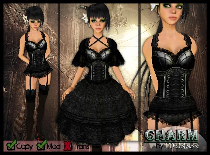 [Wishbox] Charm (Black) - EGL Gothic Lolita Goth Victorian Corset Dolly Babydoll Dress Vampire
