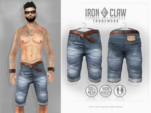 [IC] MESH Shorts jeans .::LightBlue::. w. Belt MALE *PROMO* New Release!!!
