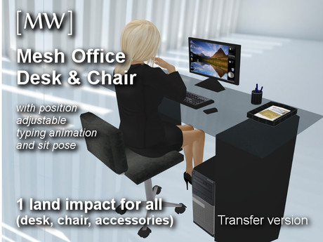 [MW] Secretary Computer Desk - Only 1 Land Impact Total!