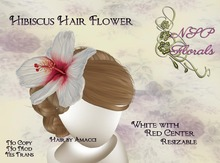 NSP Hibiscus Hair Flower White Red Center boxed