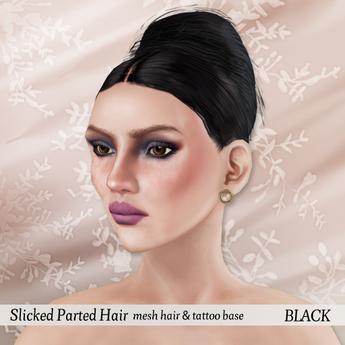 p.c; Slicked Parted Hair Bun - Black
