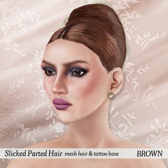 p.c; Slicked Parted Hair Bun - Brown