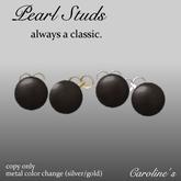 (Caroline's Jewelry) Black Pearl Stud Earrings