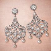 P.C; Diamond & Pearl Chandelier Earrings