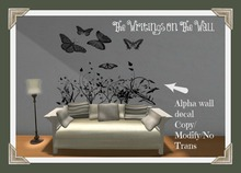 The Writings On The Wall~Butterflies and Flowers Wall Decal