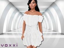 .::voxxi::. [Heidi] Off Shoulder Peasant Dress White