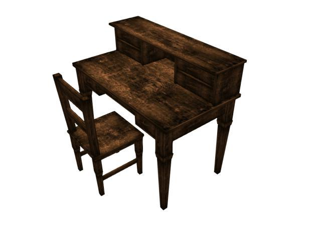 Second Life Marketplace Shabby Chic Desk Worn Brown