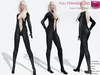 RIGGED MESH Women's Deep Cleavage Long Sleeve Sexy Catsuit Bodysuit with Gloves & Boots - 3 TEXTURES