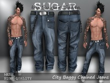 SUGAR CIty Baggy Chained Jeans BLUE Boxed