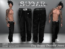 SUGAR CIty Baggy Chained Jeans BLACK Boxed