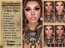 .::voxxi::.  MONIQUE Complete Avatar Medium/Darks (Shape,4 Skins,Lipsticks,Eyeshadows,Eyebrows,Beauty Mark,StyleCard)
