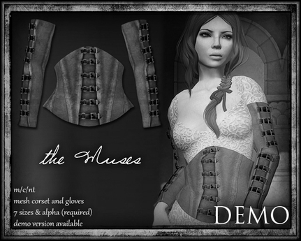the muses . Diana corset and gloves . DEMO