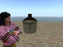 Antique Stoneware Crock Jug marked Vinegar sculpture one prim