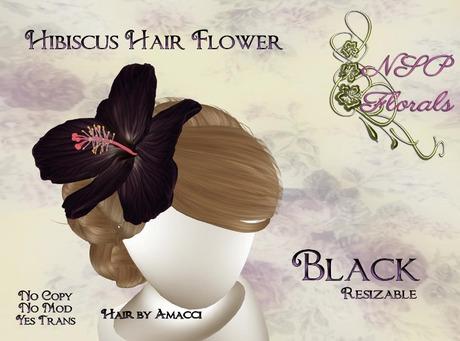 NSP Hibiscus Hair Flower Black boxed