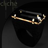 [CF] Onyx & Gold Boho Ring