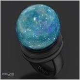:Diamante: Teal Asiramarine Fantasy Globe Ring