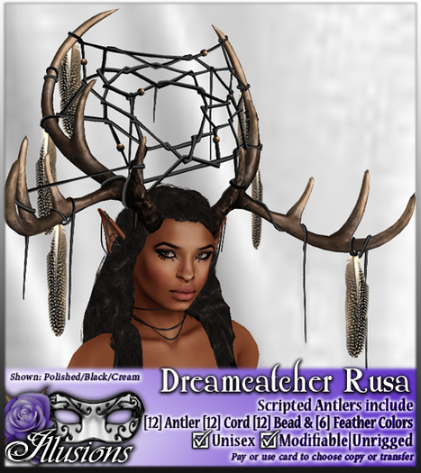 *~*Illusions*~* Dreamcatcher Rusa Antlers