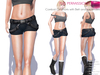 FULL PERM CLASSIC RIGGED MESH Women's Mini Black Sexy Combat Shorts with Belt & Suspenders