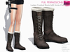 FULL PERM NON-RIGGED MESH Women's Brown Calf Combat Botts with Sock Cuffs