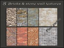 Pack 8 bricks&stone wall textures