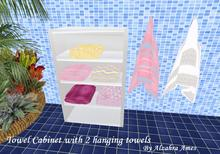Towel cabinet with 2 hanging towels