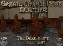 DM Ornate Church Pew Set - Acanthus