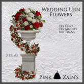 Wedding Urn Flowers - Red/White [Boxed]