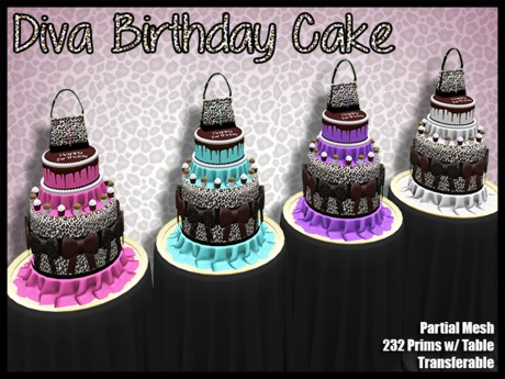 Remarkable Second Life Marketplace Tpp Diva Birthday Cake Purple Open Personalised Birthday Cards Bromeletsinfo