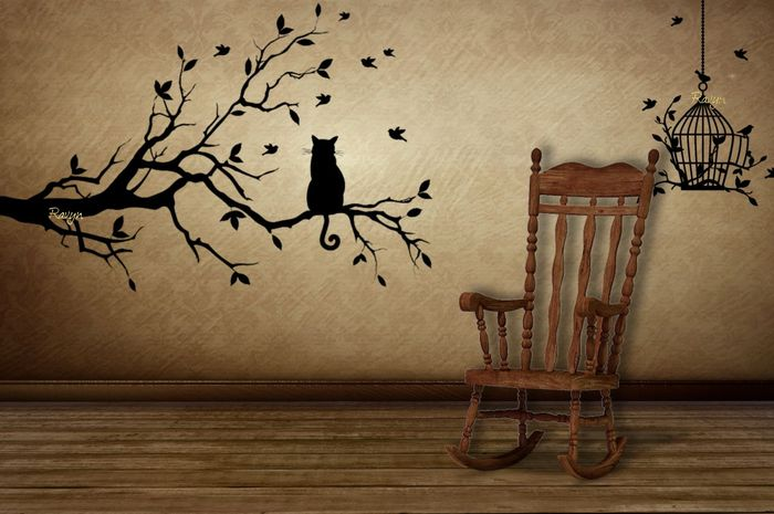 Bird Watching Cat Wall Sticker