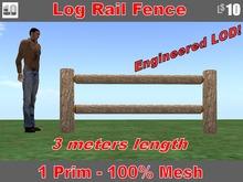 Log Rail Fence, 3 meters long with Sugar Pine Bark