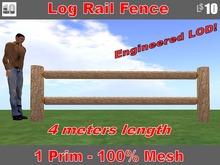 Log Rail Fence, 4 meters long with Sugar Pine Bark