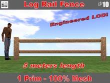 Log Rail Fence, 5 meters long with Sugar Pine Bark