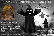 "ADORABLE ANIMATED SHOULDER PET: ""BLACK GHOST"" - WITH PARTICLES - HALLOWEEN"